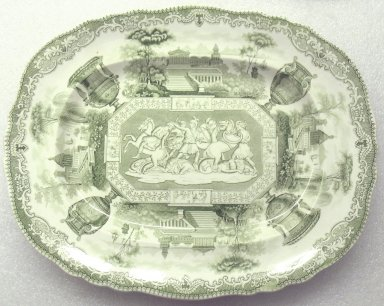 Old Hall Porcelain Works Co., Ltd. (1887-1902). <em>Platter, Antiques Pattern</em>, ca. 1840. Glazed earthenware, 1 x 10 1/4 x 13 in.  (2.5 x 26 x 33.0 cm). Brooklyn Museum, Gift of Paul F. Walter, 2001.55.30. Creative Commons-BY (Photo: Brooklyn Museum, CUR.2001.55.30.jpg)