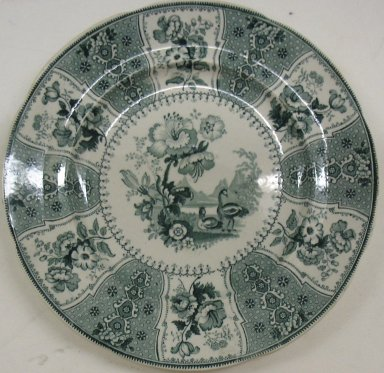 Jacob Baggaley (active 1880-1886). <em>Plate, Eastern Plants Pattern</em>, ca. 1840. Glazed earthenware, height: 7/8 in. (2.2 cm); diameter: 9 1/4 in. (23.5 cm). Brooklyn Museum, Gift of Paul F. Walter, 2001.55.31. Creative Commons-BY (Photo: Brooklyn Museum, CUR.2001.55.31.jpg)