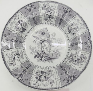 Jacob Baggaley (active 1880-1886). <em>Bowl, Eastern Plants Pattern</em>, ca. 1840. Glazed earthenware, height: 1 1/2 in.; diameter: 10 1/4 in. (26.0 cm). Brooklyn Museum, Gift of Paul F. Walter, 2001.55.32. Creative Commons-BY (Photo: Brooklyn Museum, CUR.2001.55.32.jpg)
