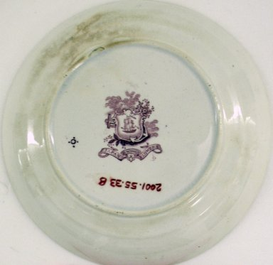 Ridgeway, Morley, Wear & Co. (active 1836-1842). <em>Cup and Saucer, Japanese Flowers Pattern</em>, ca. 1840. Glazed earthenware, cup: 2 1/4 x 4 in.  (5.7 x 10.2 cm); saucer height: 1 in. (2.5 cm); diameter: 5 3/4 in. (14.6 cm). Brooklyn Museum, Gift of Paul F. Walter, 2001.55.33a-b. Creative Commons-BY (Photo: Brooklyn Museum, CUR.2001.55.33b_bottom.jpg)