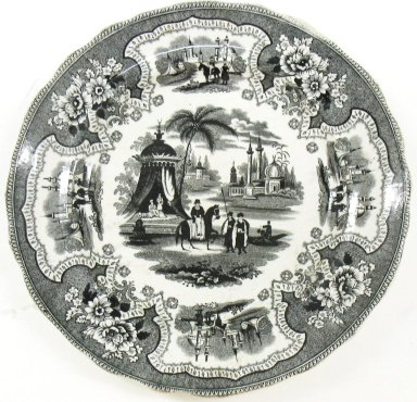 <em>Plate, Palestine Pattern</em>, ca. 1840. Glazed earthenware, height: 3/4 in. (1.9 cm); diameter: 8 1/2 in.  (21.6 cm). Brooklyn Museum, Gift of Paul F. Walter, 2001.55.36. Creative Commons-BY (Photo: Brooklyn Museum, CUR.2001.55.36.jpg)