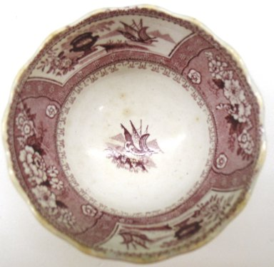 <em>Cup and Saucer, Canova Pattern</em>, ca. 1840. Glazed earthenware, cup height: 3 7/8 in. (9.8 cm); cup diameter: 2 1/4 in.  (5.7 cm); saucer height: 1 1/4 in. (3.2 cm); saucer diameter: 6 in. (15.2 cm). Brooklyn Museum, Gift of Paul F. Walter, 2001.55.7a-b. Creative Commons-BY (Photo: Brooklyn Museum, CUR.2001.55.7a.jpg)