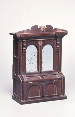 John Higgins. <em>Salesman's Sample of a Parlor Cabinet/Bed</em>, ca. 1870. Walnut, other woods, silvered glass, Closed: 12 7/8 x 9 9/16 x 4 1/4 in. (32.7 x 24.3 x 10.8 cm). Brooklyn Museum, Alfred T. and Caroline S. Zoebisch Fund, 2001.9.1. Creative Commons-BY (Photo: Brooklyn Museum, CUR.2001.9.1_view1.jpg)