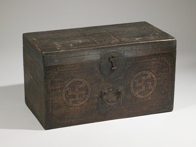 <em>Chest or Trunk</em>, early 20th century. Wood with paper, lacquer and iron mounts, 15 3/8 x 27 3/8 x 14 5/16 in. (39 x 69.5 x 36.3 cm). Brooklyn Museum, Gift of Dr. Alvin E. Friedman-Kien, 2002.119.14. Creative Commons-BY (Photo: Brooklyn Museum (in collaboration with National Research Institute of Cultural Heritage, , CUR.2002.119.14_front_Collins_photo_NRICH.jpg)