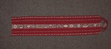 Teodosia Marca Willi (Quechua, Peruvian, born 1952). <em>Calendar Belt (Chumpi Calendario) or (Faja Calendario)</em>, 1983. Alpaca fleece, sheep wool, natural and synthetic dyes, H: 8 in. (20.3 cm)  W incl fringe: 39 1/2 in. (100.3 cm). Brooklyn Museum, Frank Sherman Benson Fund, 2002.62.15. Creative Commons-BY (Photo: Brooklyn Museum, CUR.2002.62.15.jpg)