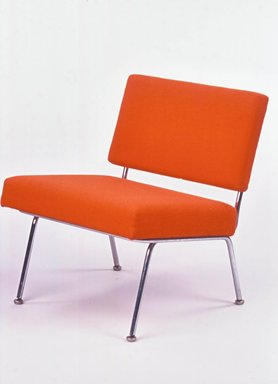Florence Knoll Bassett (American, 1917-2019). <em>Side Chair, Model 31</em>, designed 1954, manufactured after 1956. Chromed steel, upholstery (wool and nylon), 28 3/4 x 23 3/4 in. (73 x 60.3 cm). Brooklyn Museum, Gift of Liliane M. Stewart, 2002.70.1. Creative Commons-BY (Photo: Brooklyn Museum, CUR.2002.70.1_view1.jpg)