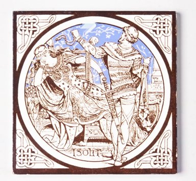 "John Moyr Smith (English, 1839-1912). <em>Tile, ""Isolt,""</em> ca. 1876. Glazed earthenware, 6 x 6 x 3/8 in. (15.2 x 15.2 x 1 cm). Brooklyn Museum, Gift of Rosemarie Haag Bletter and Martin Filler, 2003.33.6. Creative Commons-BY (Photo: Brooklyn Museum, CUR.2003.33.6.jpg)"