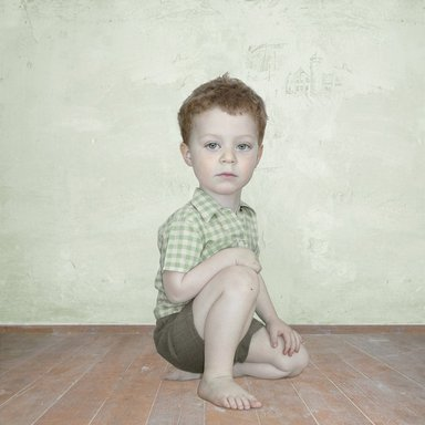 Loretta Lux (German, born 1969). <em>Study of Boy 2</em>, 2002. Silver dye bleach photograph (Ilfochrome), Image: 9 x 9 in. (22.9 x 22.9 cm). Brooklyn Museum, Gift of Yossi Milo and Evan Smoak, 2003.47. © artist or artist's estate (Photo: Image courtesy of Yossi Milo Gallery, CUR.2003.47_Yossi_Milo_Gallery_photograph.jpg)