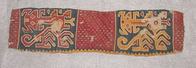 Huarmey. <em>Textile Fragment</em>, ca. 500-750. Cotton and dyed camelid (alpaca?) fiber, 2 3/4 x 9 3/4 in. (7 x 24.8 cm). Brooklyn Museum, Gift of Eric Jacobsen, 2003.81.2. Creative Commons-BY (Photo: Brooklyn Museum, CUR.2003.81.2.jpg)