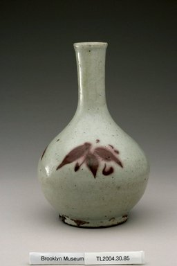 <em>Bottle</em>, first half of 20th century. White porcelain with underglaze copper-red painting, Height: 8 1/8 in. (20.7 cm). Brooklyn Museum, The Peggy N. and Roger G. Gerry Collection, 2004.28.103. Creative Commons-BY (Photo: Brooklyn Museum (in collaboration with National Research Institute of Cultural Heritage, , CUR.2004.28.103_view1_Heon-Kang_photo_NRICH.jpg)