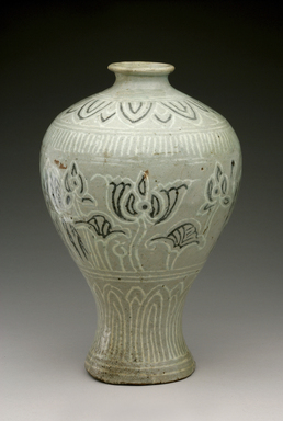 <em>Vase</em>, first half of 15th century. Buncheong ware, stoneware with inlaid black and white slips, Height: 9 15/16 in. (25.3 cm). Brooklyn Museum, The Peggy N. and Roger G. Gerry Collection, 2004.28.104. Creative Commons-BY (Photo: Brooklyn Museum (in collaboration with National Research Institute of Cultural Heritage, , CUR.2004.28.104_view1_Heon-Kang_photo_NRICH_edited.jpg)