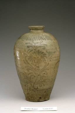 <em>Vase</em>, 12th century. Stoneware with olive-green celadon glaze and underglaze iron painting, Height: 10 5/16 in. (26.2 cm). Brooklyn Museum, The Peggy N. and Roger G. Gerry Collection, 2004.28.105. Creative Commons-BY (Photo: Brooklyn Museum (in collaboration with National Research Institute of Cultural Heritage, , CUR.2004.28.105_view1_Heon-Kang_photo_NRICH.jpg)