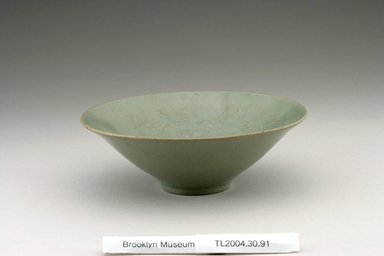 <em>Bowl</em>, last half 12th century. Stoneware with celadon glaze, Height: 2 1/16 in. (5.3 cm). Brooklyn Museum, The Peggy N. and Roger G. Gerry Collection, 2004.28.109. Creative Commons-BY (Photo: Brooklyn Museum (in collaboration with National Research Institute of Cultural Heritage, , CUR.2004.28.109_view1_Heon-Kang_photo_NRICH.jpg)