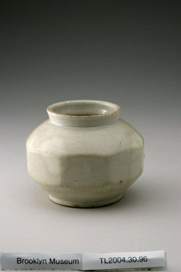 <em>Jar</em>, last half of 19th century. Porcelain with glaze, Height: 3 1/8 in. (7.9 cm). Brooklyn Museum, The Peggy N. and Roger G. Gerry Collection, 2004.28.114. Creative Commons-BY (Photo: Brooklyn Museum (in collaboration with National Research Institute of Cultural Heritage, , CUR.2004.28.114_view1_Heon-Kang_photo_NRICH.jpg)