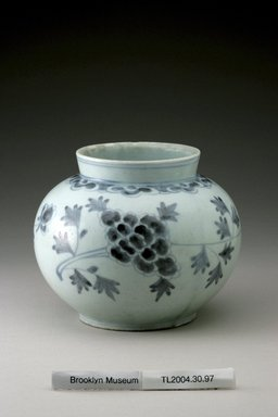 <em>Jar</em>, last half of 19th century. White porcelain with underglaze blue, Height: 5 3/16 in. (13.1 cm). Brooklyn Museum, The Peggy N. and Roger G. Gerry Collection, 2004.28.115. Creative Commons-BY (Photo: Brooklyn Museum (in collaboration with National Research Institute of Cultural Heritage, , CUR.2004.28.115_view1_Heon-Kang_photo_NRICH.jpg)
