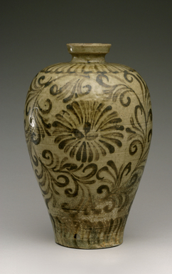 <em>Vase</em>, 12th century. Stoneware with celadon glaze and underglaze iron painting, 11 x 5 7/8 in. (28 x 15 cm). Brooklyn Museum, The Peggy N. and Roger G. Gerry Collection, 2004.28.116. Creative Commons-BY (Photo: Brooklyn Museum (in collaboration with National Research Institute of Cultural Heritage, , CUR.2004.28.116_view1_Heon-Kang_photo_NRICH_edited.jpg)