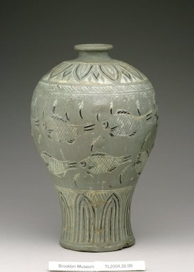 <em>Vase</em>, first half of 15th century. Buncheong ware, stoneware with celadon glaze and inlaid black and white slips, Height: 10 1/16 in. (25.5 cm). Brooklyn Museum, The Peggy N. and Roger G. Gerry Collection, 2004.28.117. Creative Commons-BY (Photo: Brooklyn Museum (in collaboration with National Research Institute of Cultural Heritage, , CUR.2004.28.117_Heon-Kang_photo_NRICH.jpg)