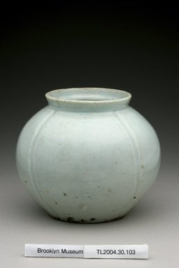 <em>Jar</em>, 19th century. White porcelain with glaze, Height: 5 1/4 in. (13.3 cm). Brooklyn Museum, The Peggy N. and Roger G. Gerry Collection, 2004.28.121. Creative Commons-BY (Photo: Brooklyn Museum (in collaboration with National Research Institute of Cultural Heritage, , CUR.2004.28.121_view1_Heon-Kang_photo_NRICH.jpg)