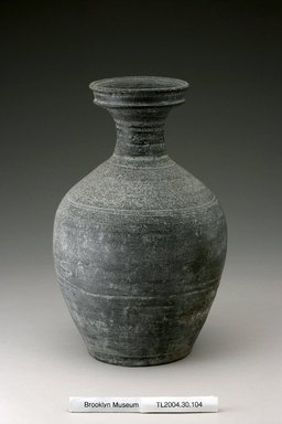 <em>Bottle</em>, 9th-10th century. Earthenware with thin natural ash glaze, Height: 9 7/16 in. (24 cm). Brooklyn Museum, The Peggy N. and Roger G. Gerry Collection, 2004.28.122. Creative Commons-BY (Photo: Brooklyn Museum (in collaboration with National Research Institute of Cultural Heritage, , CUR.2004.28.122_Heon-Kang_photo_NRICH.jpg)