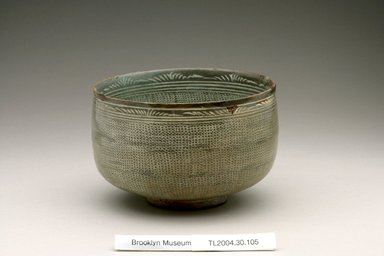 <em>Bowl</em>, first half of 15th century. Buncheong ware, stoneware with white slip, Height: 3 13/16 in. (9.7 cm). Brooklyn Museum, The Peggy N. and Roger G. Gerry Collection, 2004.28.123. Creative Commons-BY (Photo: Brooklyn Museum (in collaboration with National Research Institute of Cultural Heritage, , CUR.2004.28.123_view1_Heon-Kang_photo_NRICH.jpg)
