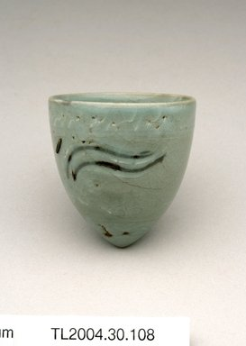 <em>Cup</em>, 13th century. Stoneware with celadon glaze, metal staple repairs, Height: 2 3/8 in. (6 cm). Brooklyn Museum, The Peggy N. and Roger G. Gerry Collection, 2004.28.126. Creative Commons-BY (Photo: Brooklyn Museum (in collaboration with National Research Institute of Cultural Heritage, , CUR.2004.28.126_view1_Heon-Kang_photo_NRICH.jpg)