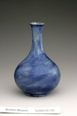 <em>Bottle</em>, last half of 19th century. White porcelain body with cobalt-oxide under clear glaze