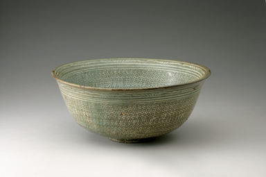 <em>Bowl</em>, first half of 15th century. Buncheong ware, stoneware with celadon glaze and inlaid white slip, Height: 2 7/8 in. (7.3 cm). Brooklyn Museum, The Peggy N. and Roger G. Gerry Collection, 2004.28.164. Creative Commons-BY (Photo: Brooklyn Museum (in collaboration with National Research Institute of Cultural Heritage, , CUR.2004.28.164_view1_Heon-Kang_photo_NRICH_edited.jpg)