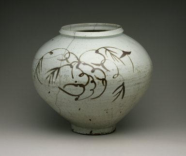 <em>Jar</em>, 17th century. Porcelain with underglaze iron decoration, Height: 13 9/16 in. (34.5 cm). Brooklyn Museum, The Peggy N. and Roger G. Gerry Collection, 2004.28.236. Creative Commons-BY (Photo: Brooklyn Museum (in collaboration with National Research Institute of Cultural Heritage, , CUR.2004.28.236_view1_Heon-Kang_photo_NRICH_edited.jpg)