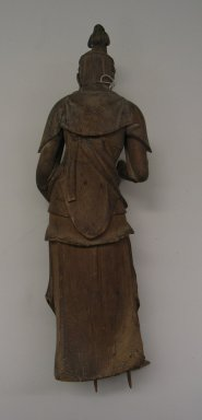 <em>Figure of Bodhisattva</em>, 14th century. Wood, Figure: 14 1/8 x 4 1/2 x 4 5/8 in. (35.8 x 11.5 x 11.7 cm). Brooklyn Museum, The Peggy N. and Roger G. Gerry Collection, 2004.28.240a-b. Creative Commons-BY (Photo: Brooklyn Museum, CUR.2004.28.240a_back.jpg)