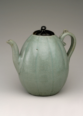 <em>Ewer with Cover</em>, 12th century. Stoneware with celadon glaze, wood, Height: 7 5/16 in. (18.6 cm). Brooklyn Museum, The Peggy N. and Roger G. Gerry Collection, 2004.28.242a-b. Creative Commons-BY (Photo: Brooklyn Museum (in collaboration with National Research Institute of Cultural Heritage, , CUR.2004.28.242a-b_view01_Heon-Kang_photo_NRICH_edited.jpg)