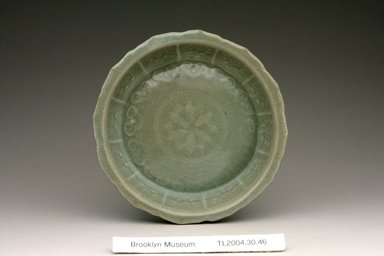 <em>Dish</em>, 12th century. Stoneware with celadon glaze, Height: 1 1/16 in. (2.7 cm). Brooklyn Museum, The Peggy N. and Roger G. Gerry Collection, 2004.28.42. Creative Commons-BY (Photo: Brooklyn Museum (in collaboration with National Research Institute of Cultural Heritage, , CUR.2004.28.42_view1_Heon-Kang_photo_NRICH.jpg)