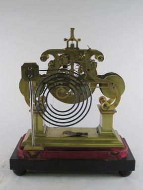 <em>Skeleton Clock</em>, 19th century. Brass, wood, velvet, marble, 14 1/2 x 12 1/8 x 6 3/8 in. (36.8 x 30.8 x 16.2 cm). Brooklyn Museum, Bequest of Elisabeth Sloan Livingston, 2004.35.2. Creative Commons-BY (Photo: Brooklyn Museum, CUR.2004.35.2_view3.jpg)