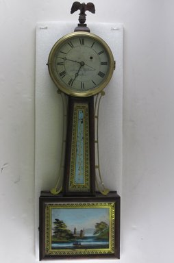 Attributed to Aaron Willard. <em>Banjo Clock</em>, late 18th century. Mahogany, other woods, brass, painted glass, 32 1/2 x 10 1/8 x 3 3/4 in. (82.6 x 25.7 x 9.5 cm). Brooklyn Museum, Bequest of Elisabeth Sloan Livingston, 2004.35.3. Creative Commons-BY (Photo: Brooklyn Museum, CUR.2004.35.3.jpg)