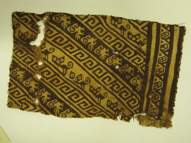 Chancay. <em>Textile Fragment</em>, 1000-1476. Cotton, 7 x 4 in. (17.8 x 10.2 cm). Brooklyn Museum, Gift of Victor P. Nunez, 2004.53.25. Creative Commons-BY (Photo: Brooklyn Museum, CUR.2004.53.25.jpg)