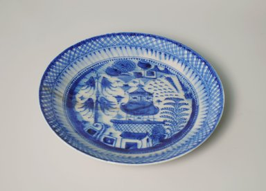 <em>Plate</em>, late 19th-early 20th century. Ceramic with blue and white decoration, 1 7/8 x 9 7/8 in. (4.7 x 25.1 cm). Brooklyn Museum, Gift of Nobuko Kajitani, 2005.3.5. Creative Commons-BY (Photo: Brooklyn Museum, CUR.2005.3.5.jpg)
