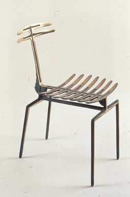 """Terence Main (American, born 1954). <em>""""Nymph"""" Chair</em>, 1992. Bronze, 32 x 19 x 17 in. (81.3 x 48.3 x 43.2 cm). Brooklyn Museum, Gift of Judith and Steven Gluckstern, 2005.5. Creative Commons-BY (Photo: Brooklyn Museum, CUR.2005.5.jpg)"""