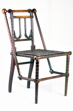 George Jacob Hunzinger (American, born Germany, 1835-1898). <em>Side Chair</em>, Patented March 30, 1869 and April 18, 1876. Wood and textile covered steel webbing, 32 x 17 1/2 x 19 1/2 in. (81.3 x 44.5 x 49.5 cm). Brooklyn Museum, Gift of Ronald S. Kane, 2005.64. Creative Commons-BY (Photo: Brooklyn Museum, CUR.2005.64.jpg)