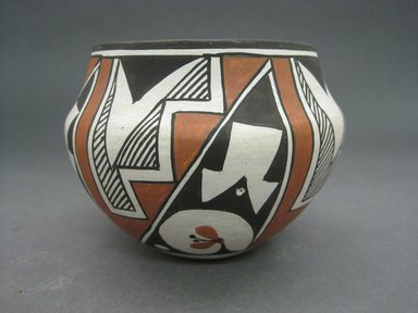 Grace Chino (Haak'u (Acoma Pueblo), 1929-1995). <em>Vessel</em>, 1980-1990. Clay, pigment, 3 1/2 x 4 1/2 in. (8.9 x 11.4 cm). Brooklyn Museum, Gift of Andrea Levitt Baum, 2006.44.3. Creative Commons-BY (Photo: Brooklyn Museum, CUR.2006.44.3.jpg)