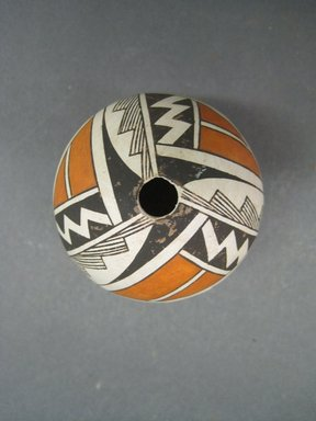 Grace Chino (Haak'u (Acoma Pueblo), 1929-1995). <em>Vessel</em>, 1980-1990. Clay, pigment, 2 1/2 x 1 7/8 in. (6.4 x 4.8 cm). Brooklyn Museum, Gift of Andrea Levitt Baum, 2006.44.4. Creative Commons-BY (Photo: Brooklyn Museum, CUR.2006.44.4_view1.jpg)