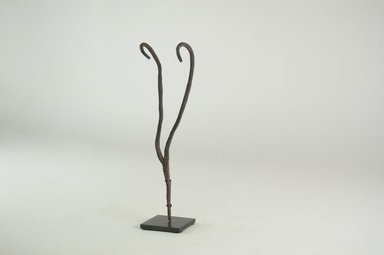 "Lobi. <em>Double Snake or ""Horns,""</em> 19th century. Iron, 7 1/2 x 2 3/16 x 1 3/16 in. (19 x 5.5 x 3 cm). Brooklyn Museum, Gift of Michael Ward, 2006.67.16. Creative Commons-BY (Photo: Brooklyn Museum, CUR.2006.67.16_threequarter_PS5.jpg)"