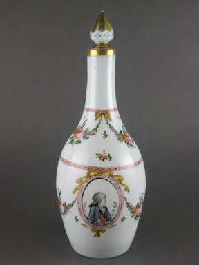 <em>Decanter with Stopper</em>, late 18th century. Glass, pigment, gilding, Height:11 1/4 in. (28.6 cm). Brooklyn Museum, Gift of Wunsch Americana Foundation, Inc., 2006.81.1a-b. Creative Commons-BY (Photo: Brooklyn Museum, CUR.2006.81.1a-b_view6.jpg)