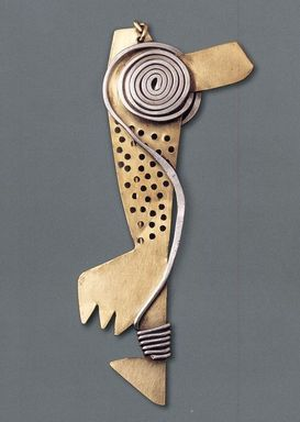 Claire Falkenstein (American, 1908-1997). <em>Hair Ornament</em>, ca. 1950. Brass, aluminum, 4 1/4 x 1 3/4 x 1/2 in. (10.8 x 4.4 x 1.3 cm). Brooklyn Museum, H. Randolph Lever Fund, 2007.21.4. Creative Commons-BY (Photo: Brooklyn Museum, CUR.2007.21.4.jpg)