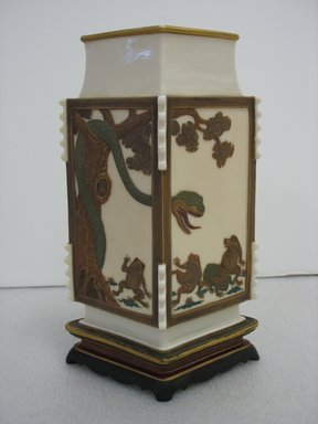 James Hadley (British, 1837-1903). <em>Vase</em>, 1872. Porcelain, gilding, 10 1/4 x 6 1/2 x 4 1/4 in. (26 x 16.5 x 10.8 cm). Brooklyn Museum, Gift of Paul F. Walter, 2007.62.19. Creative Commons-BY (Photo: Brooklyn Museum, CUR.2007.62.19.jpg)