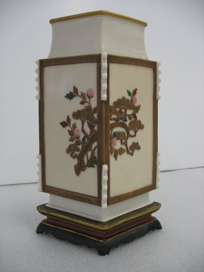 James Hadley (British, 1837-1903). <em>Vase</em>, 1872. Porcelain, gilding, 10 1/4 x 6 1/2 x 4 1/4 in. (26 x 16.5 x 10.8 cm). Brooklyn Museum, Gift of Paul F. Walter, 2007.62.20. Creative Commons-BY (Photo: Brooklyn Museum, CUR.2007.62.20_view2.jpg)