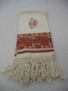 <em>Tea Towel</em>, early 20th century. Linen, 43 x 21 in. (109.2 x 53.3 cm). Brooklyn Museum, Gift of Paul F. Walter, 2007.62.23. Creative Commons-BY (Photo: Brooklyn Museum, CUR.2007.62.23_view1.jpg)