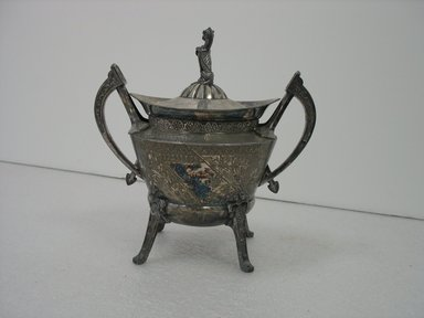 Reed & Barton (American, 1840-present). <em>Sugar Bowl with Lid</em>, ca. 1885. Silverplate, 8 x 8 x 5 1/2 in. (20.3 x 20.3 x 14.0 cm). Brooklyn Museum, Gift of Paul F. Walter, 2007.62.5a-b. Creative Commons-BY (Photo: Brooklyn Museum, CUR.2007.62.5a-b_view1.jpg)