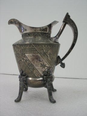 Reed & Barton (American, 1840-present). <em>Creamer</em>, ca. 1885. Silverplate, 6 3/4 x 5 3/4 x 4 in. (17.1 x 14.6 x 10.2 cm). Brooklyn Museum, Gift of Paul F. Walter, 2007.62.6. Creative Commons-BY (Photo: Brooklyn Museum, CUR.2007.62.6_view1.jpg)