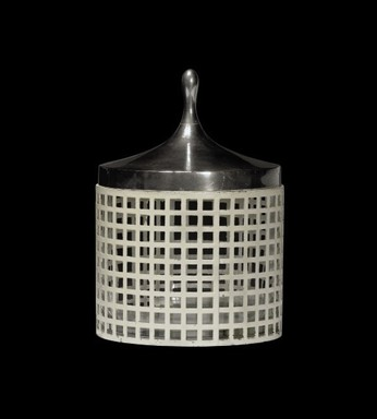 Josef Hoffmann (Austrian, 1870-1956). <em>Container with Lid</em>, ca. 1910. iron alloy, nickel silver, brass, enamel, glass, 6 3/4 x 4 3/4 in. (17.1 x 12.1 cm). Brooklyn Museum, Gift of Frederick A. McConkey, 2007.67.2a-c. Creative Commons-BY (Photo: Brooklyn Museum, CUR.2007.67.2a-c.jpg)