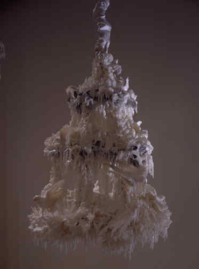 Petah Coyne (American, born 1953). <em>Untitled #750 (Bird Wedding Cake)</em>, 1993. Wax, wire mesh, steel, metal chain, artificial flowers (silk?), artificial