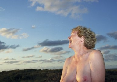 Melanie Manchot (German, born 1966). <em>With Blue Clouds and Laughter</em>, 2000. Chromogenic photograph, 39 1/2 x 55 in. (100.3 x 139.7 cm). Brooklyn Museum, Gift of the artist, 2008.24. © artist or artist's estate (Photo: Photograph courtesy of the artist and FRED (London) Ltd, CUR.2008.24.jpg)
